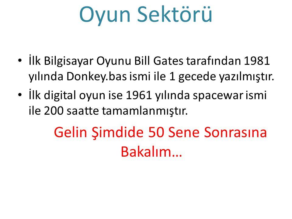 Oyun Sektörü İlk Bilgisayar Oyunu Bill Gates tarafından 1981 yılında Donkey.bas ismi ile 1 gecede yazılmıştır. İlk digital oyun ise 1961 yılında space