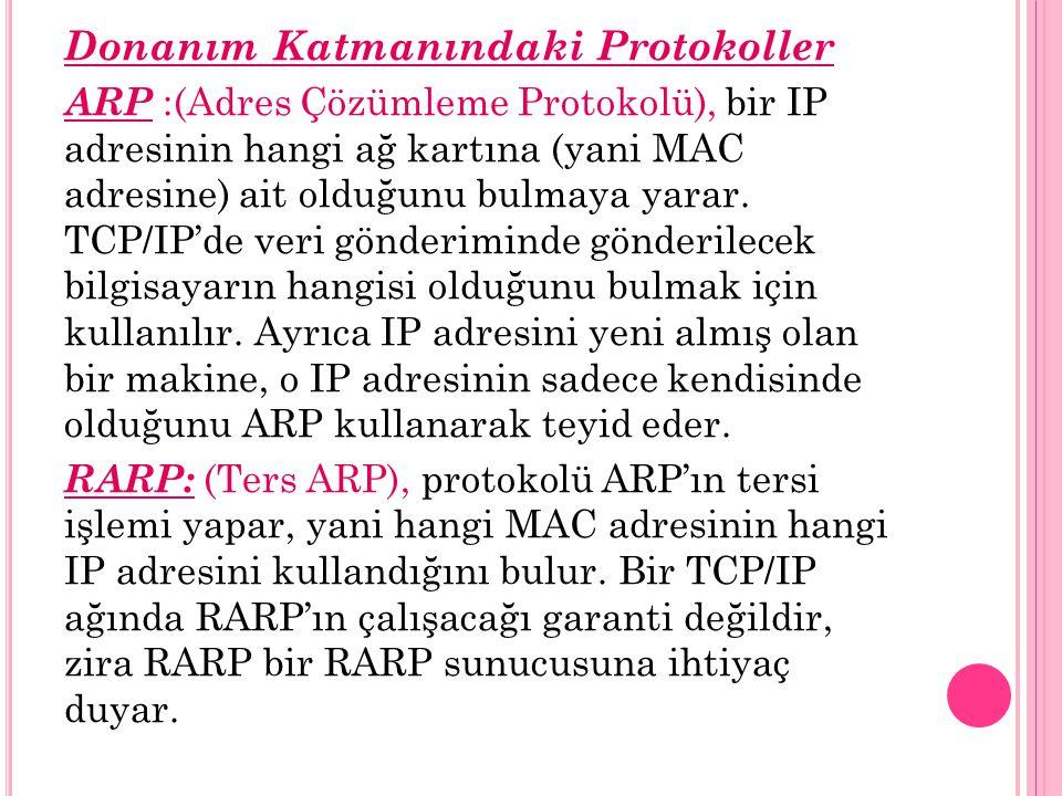 Donanım Katmanındaki Protokoller ARP :(Adres Çözümleme Protokolü), bir IP adresinin hangi ağ kartına (yani MAC adresine) ait olduğunu bulmaya yarar.