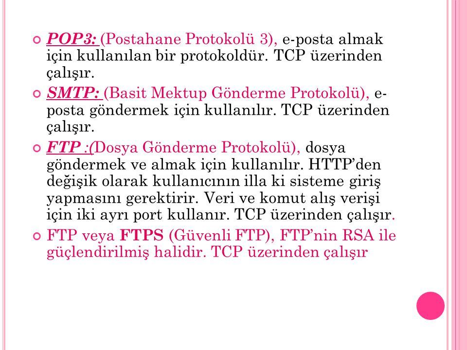 POP3: (Postahane Protokolü 3), e-posta almak için kullanılan bir protokoldür. TCP üzerinden çalışır. SMTP: (Basit Mektup Gönderme Protokolü), e- posta