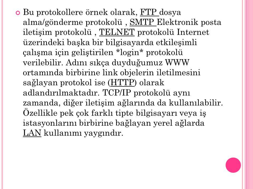 Bu protokollere örnek olarak, FTP dosya alma/gönderme protokolü, SMTP Elektronik posta iletişim protokolü, TELNET protokolü Internet üzerindeki başka bir bilgisayarda etkileşimli çalışma için geliştirilen *login* protokolü verilebilir.