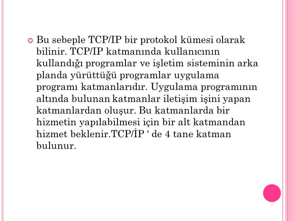 Bu sebeple TCP/IP bir protokol kümesi olarak bilinir. TCP/IP katmanında kullanıcının kullandığı programlar ve işletim sisteminin arka planda yürüttüğü