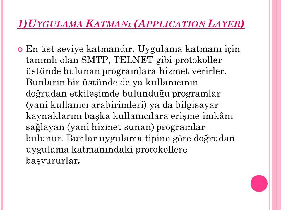 1)U YGULAMA K ATMANı (A PPLICATION L AYER ) En üst seviye katmandır. Uygulama katmanı için tanımlı olan SMTP, TELNET gibi protokoller üstünde bulunan