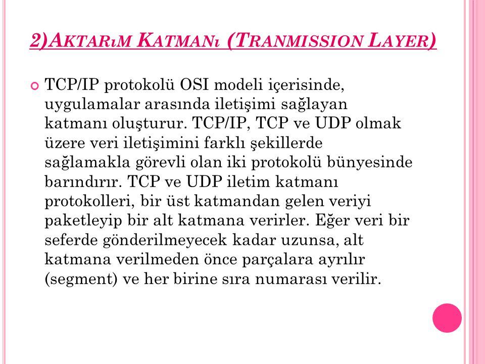 2)A KTARıM K ATMANı (T RANMISSION L AYER ) TCP/IP protokolü OSI modeli içerisinde, uygulamalar arasında iletişimi sağlayan katmanı oluşturur. TCP/IP,