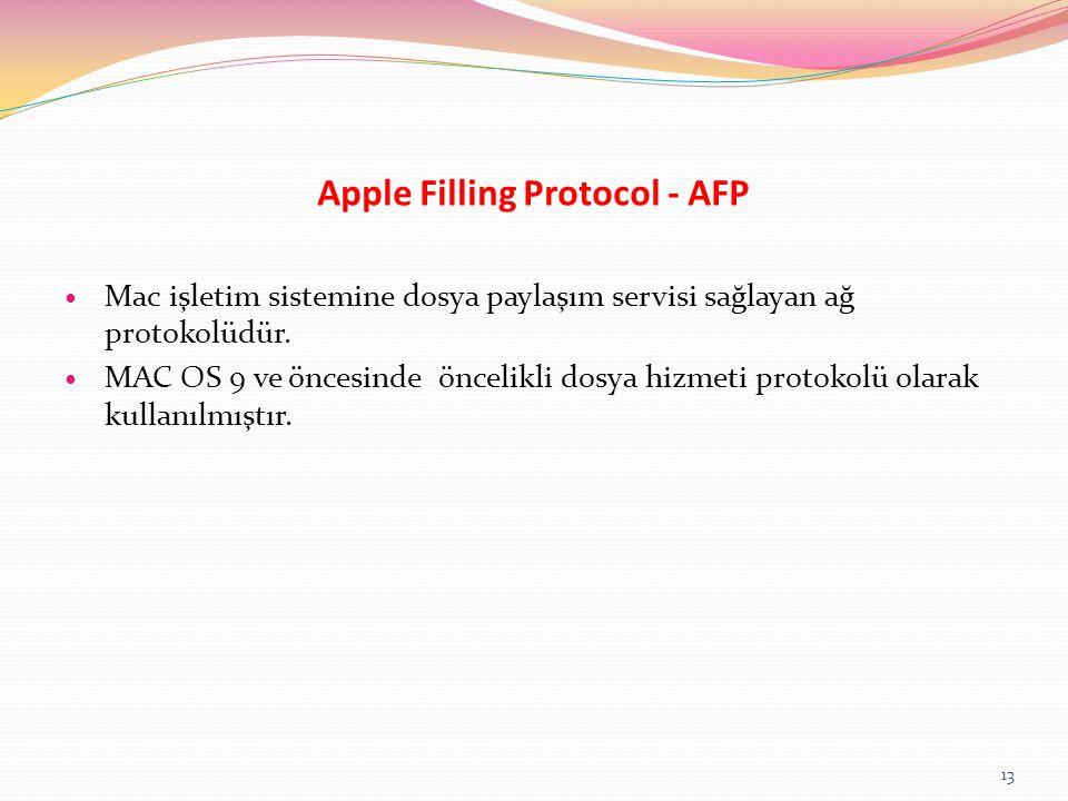 Apple Filling Protocol - AFP Mac işletim sistemine dosya paylaşım servisi sağlayan ağ protokolüdür. MAC OS 9 ve öncesinde öncelikli dosya hizmeti prot