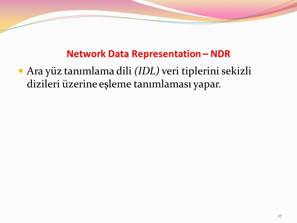 Network Data Representation – NDR Ara yüz tanımlama dili (IDL) veri tiplerini sekizli dizileri üzerine eşleme tanımlaması yapar. 17