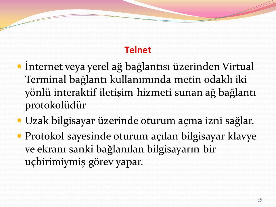 Telnet İnternet veya yerel ağ bağlantısı üzerinden Virtual Terminal bağlantı kullanımında metin odaklı iki yönlü interaktif iletişim hizmeti sunan ağ