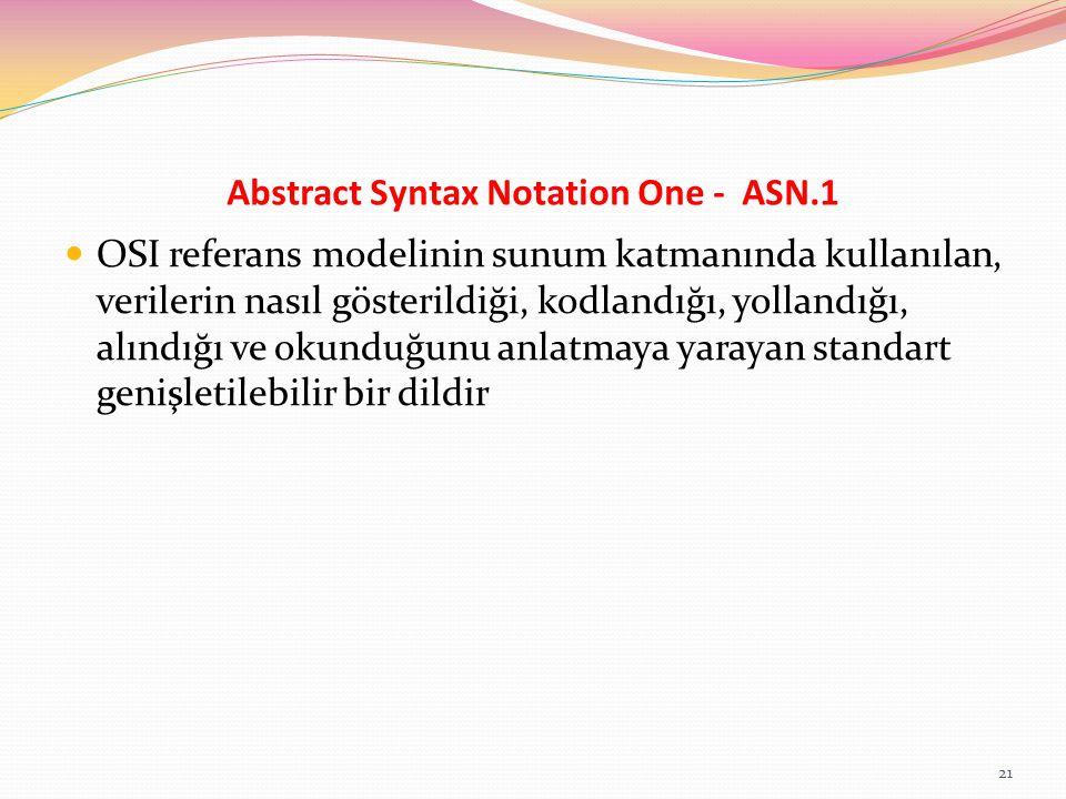 Abstract Syntax Notation One - ASN.1 OSI referans modelinin sunum katmanında kullanılan, verilerin nasıl gösterildiği, kodlandığı, yollandığı, alındığ