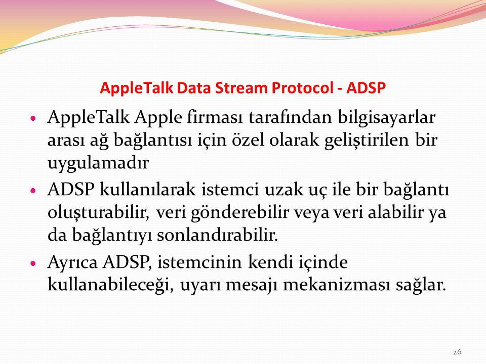 AppleTalk Data Stream Protocol - ADSP AppleTalk Apple firması tarafından bilgisayarlar arası ağ bağlantısı için özel olarak geliştirilen bir uygulamad