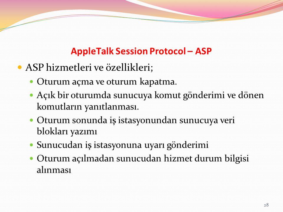 AppleTalk Session Protocol – ASP ASP hizmetleri ve özellikleri; Oturum açma ve oturum kapatma. Açık bir oturumda sunucuya komut gönderimi ve dönen kom