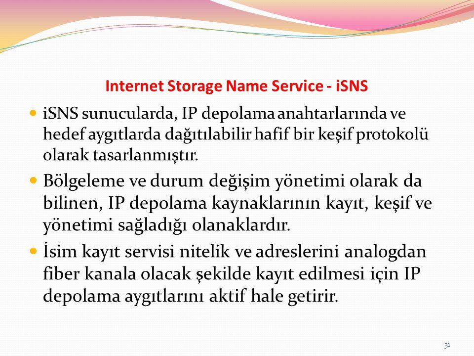 Internet Storage Name Service - iSNS iSNS sunucularda, IP depolama anahtarlarında ve hedef aygıtlarda dağıtılabilir hafif bir keşif protokolü olarak t