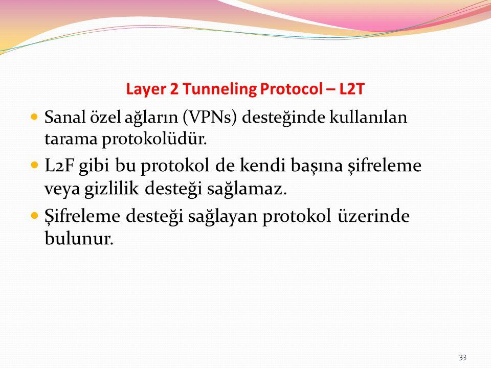 Layer 2 Tunneling Protocol – L2T Sanal özel ağların (VPNs) desteğinde kullanılan tarama protokolüdür. L2F gibi bu protokol de kendi başına şifreleme v