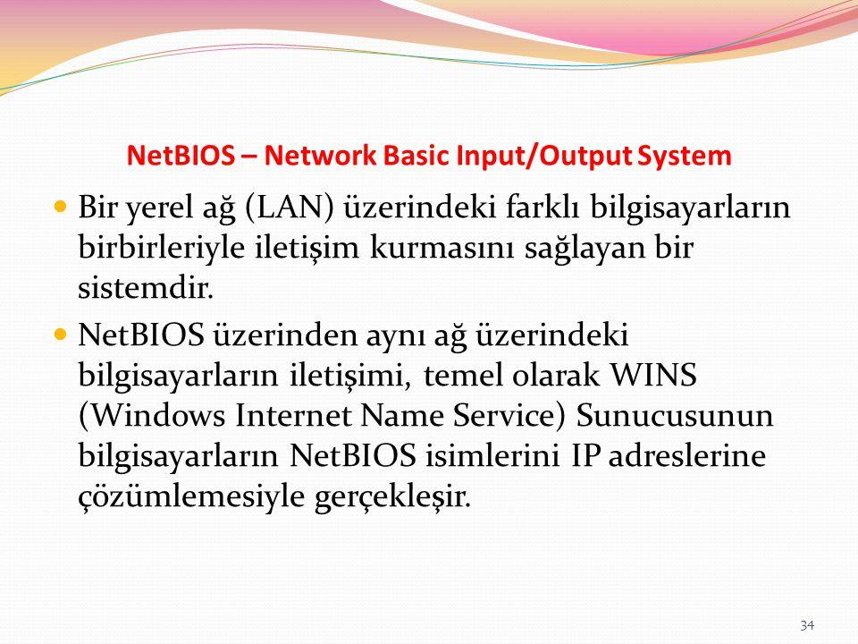 NetBIOS – Network Basic Input/Output System Bir yerel ağ (LAN) üzerindeki farklı bilgisayarların birbirleriyle iletişim kurmasını sağlayan bir sistemd