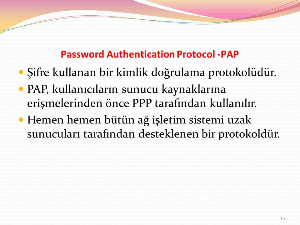 Password Authentication Protocol -PAP Şifre kullanan bir kimlik doğrulama protokolüdür. PAP, kullanıcıların sunucu kaynaklarına erişmelerinden önce PP