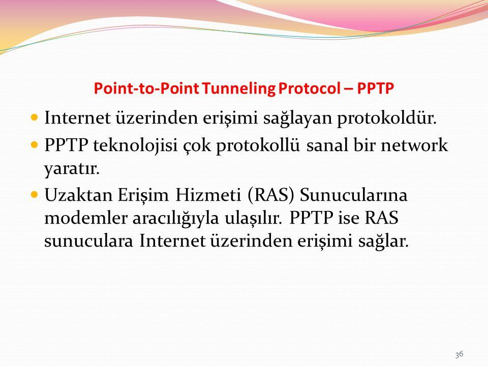 Point-to-Point Tunneling Protocol – PPTP Internet üzerinden erişimi sağlayan protokoldür. PPTP teknolojisi çok protokollü sanal bir network yaratır. U