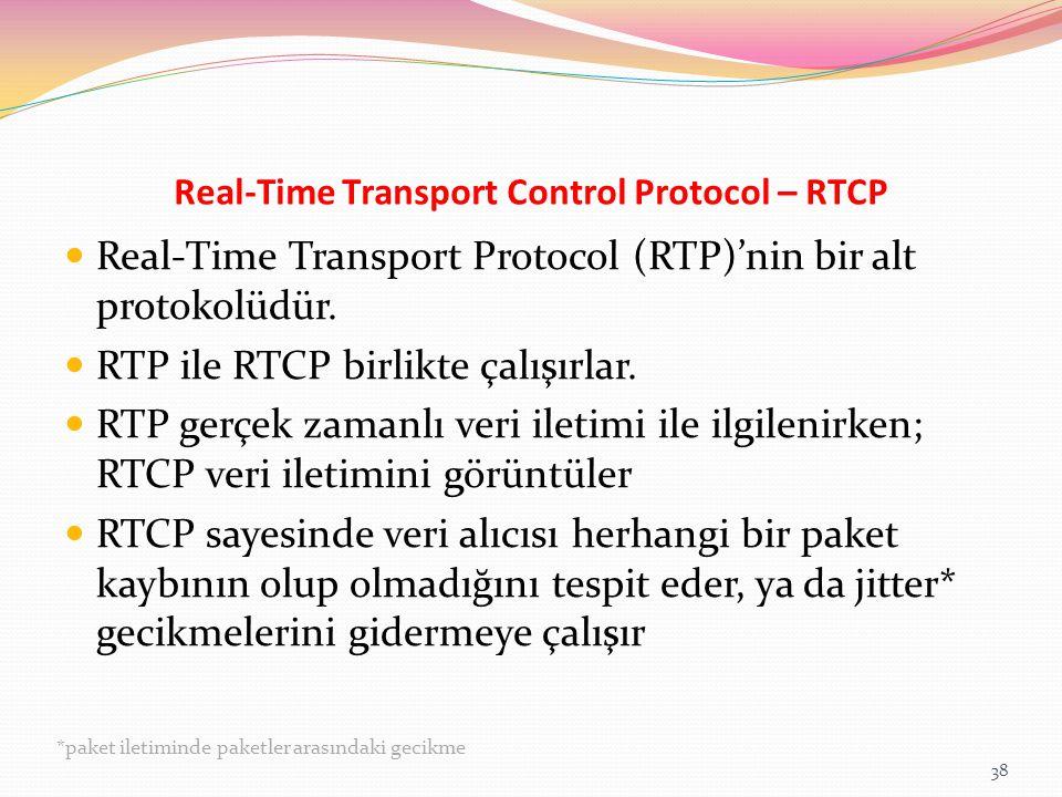 Real-Time Transport Control Protocol – RTCP Real-Time Transport Protocol (RTP)'nin bir alt protokolüdür. RTP ile RTCP birlikte çalışırlar. RTP gerçek