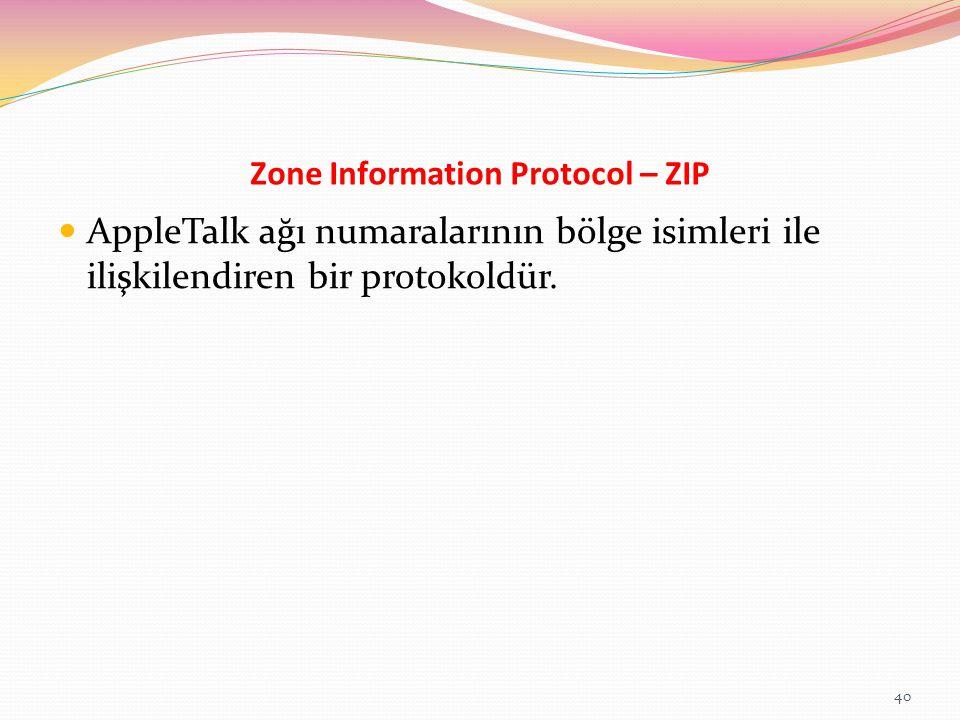 Zone Information Protocol – ZIP AppleTalk ağı numaralarının bölge isimleri ile ilişkilendiren bir protokoldür. 40