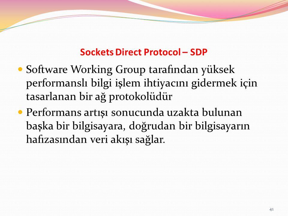 Sockets Direct Protocol – SDP Software Working Group tarafından yüksek performanslı bilgi işlem ihtiyacını gidermek için tasarlanan bir ağ protokolüdü