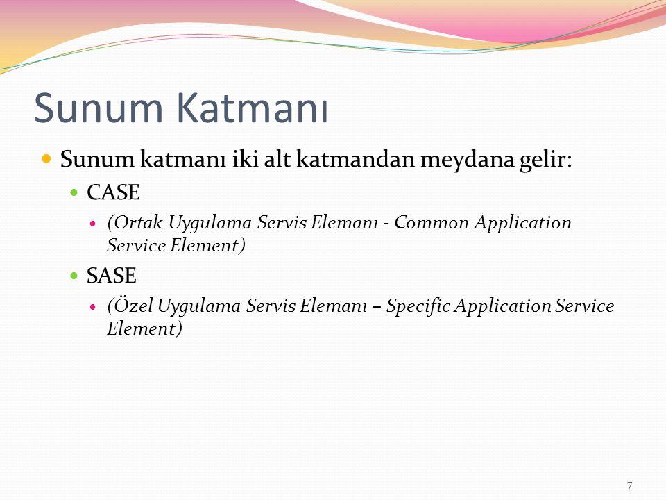 Sunum Katmanı Sunum katmanı iki alt katmandan meydana gelir: CASE (Ortak Uygulama Servis Elemanı - Common Application Service Element) SASE (Özel Uygu