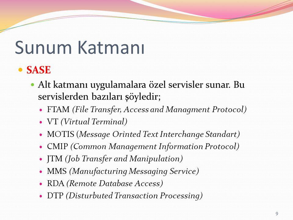 Sunum Katmanı SASE Alt katmanı uygulamalara özel servisler sunar. Bu servislerden bazıları şöyledir; FTAM (File Transfer, Access and Managment Protoco