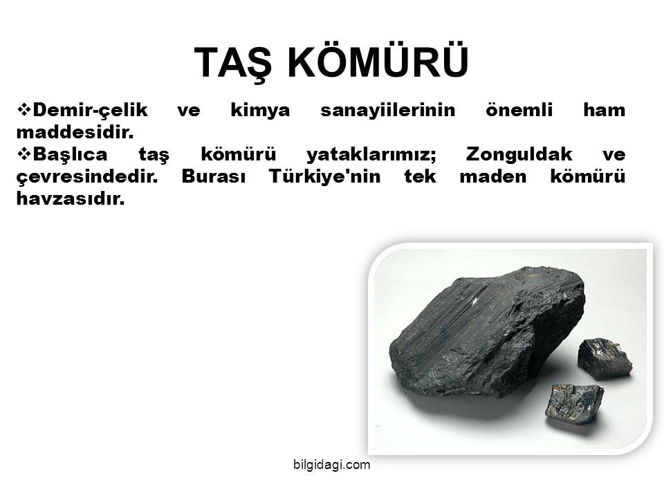  Demir-çelik ve kimya sanayiilerinin önemli ham maddesidir.  Başlıca taş kömürü yataklarımız; Zonguldak ve çevresindedir. Burası Türkiye'nin tek mad