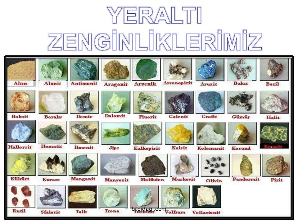 Türkiye nin Yeraltı zenginlikleri TTürkiye nin yeraltı kaynakları;  Enerji Hammaddeleri  Özel Mineral ve Taşları  Endüstriyel Hammaddeler  yer altı su kaynaklarıdır.