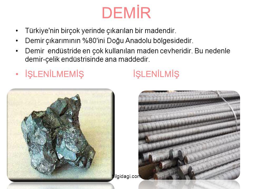 DEMİR Türkiye'nin birçok yerinde çıkarılan bir madendir. Demir çıkarımının %80'ini Doğu Anadolu bölgesidedir. Demir endüstride en çok kullanılan maden