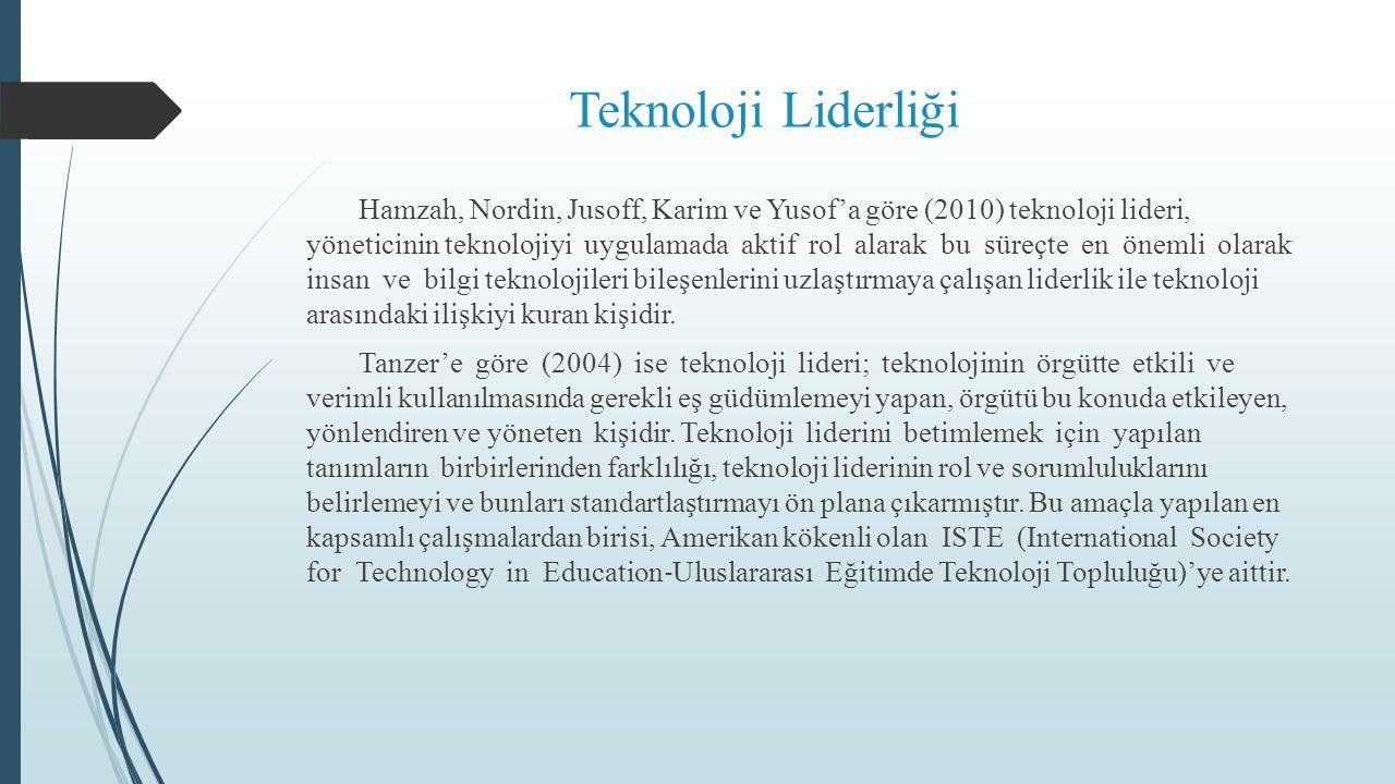 Teknoloji Liderliği Hamzah, Nordin, Jusoff, Karim ve Yusof'a göre (2010) teknoloji lideri, yöneticinin teknolojiyi uygulamada aktif rol alarak bu süreçte en önemli olarak insan ve bilgi teknolojileri bileşenlerini uzlaştırmaya çalışan liderlik ile teknoloji arasındaki ilişkiyi kuran kişidir.