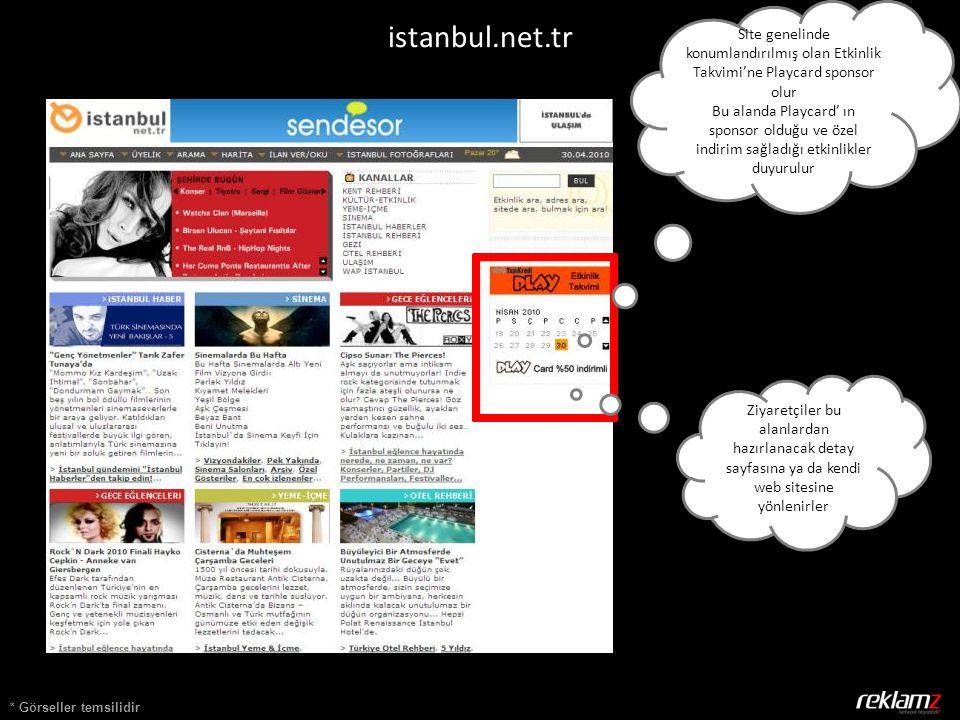 * Görseller temsilidir istanbul.net.tr Site genelinde konumlandırılmış olan Etkinlik Takvimi'ne Playcard sponsor olur Bu alanda Playcard' ın sponsor o