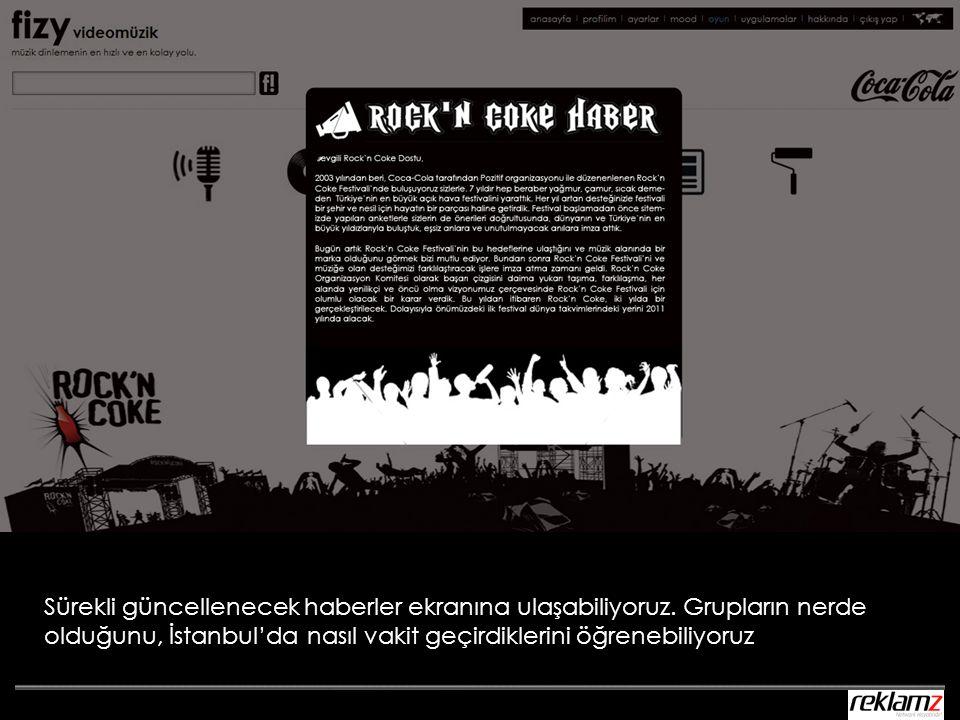 Sürekli güncellenecek haberler ekranına ulaşabiliyoruz. Grupların nerde olduğunu, İstanbul'da nasıl vakit geçirdiklerini öğrenebiliyoruz