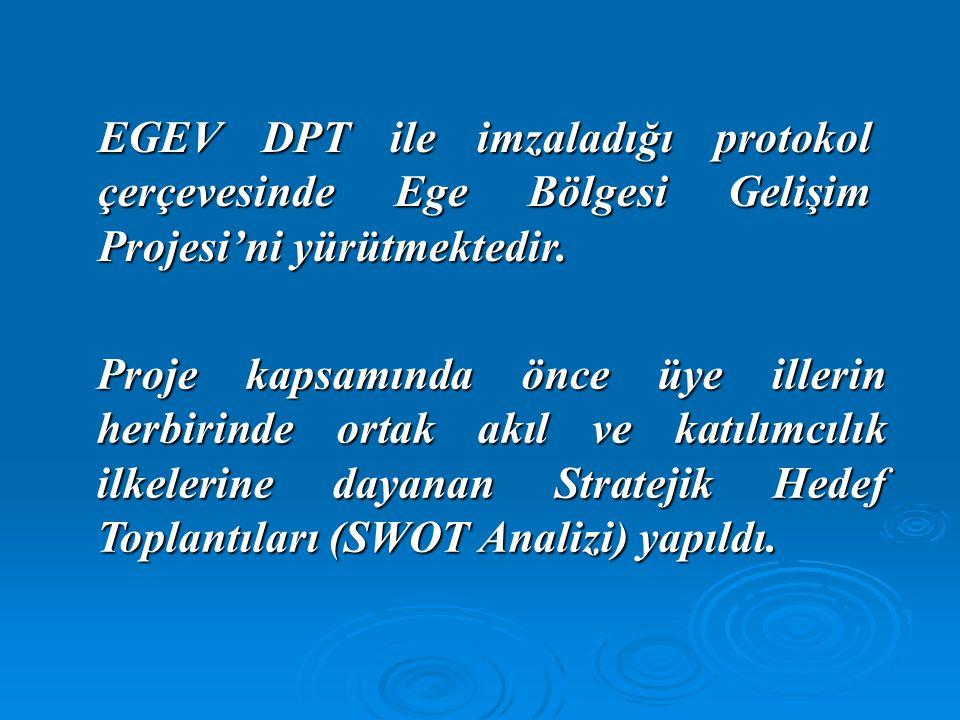 EGEV DPT ile imzaladığı protokol çerçevesinde Ege Bölgesi Gelişim Projesi'ni yürütmektedir. Proje kapsamında önce üye illerin herbirinde ortak akıl ve