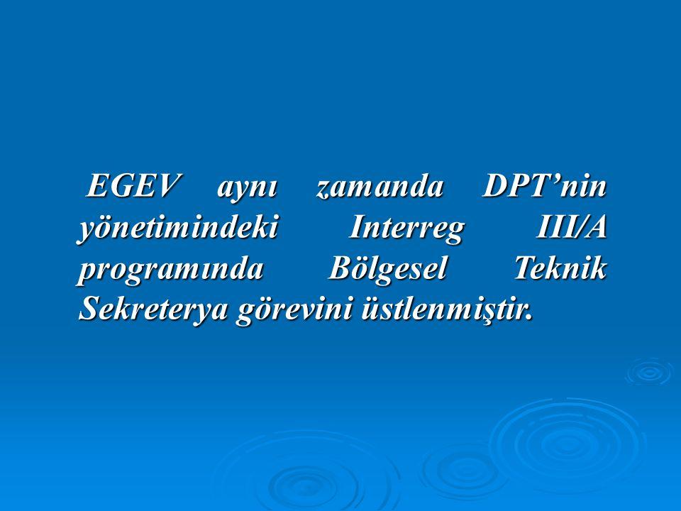 EGEV aynı zamanda DPT'nin yönetimindeki Interreg III/A programında Bölgesel Teknik Sekreterya görevini üstlenmiştir. EGEV aynı zamanda DPT'nin yönetim