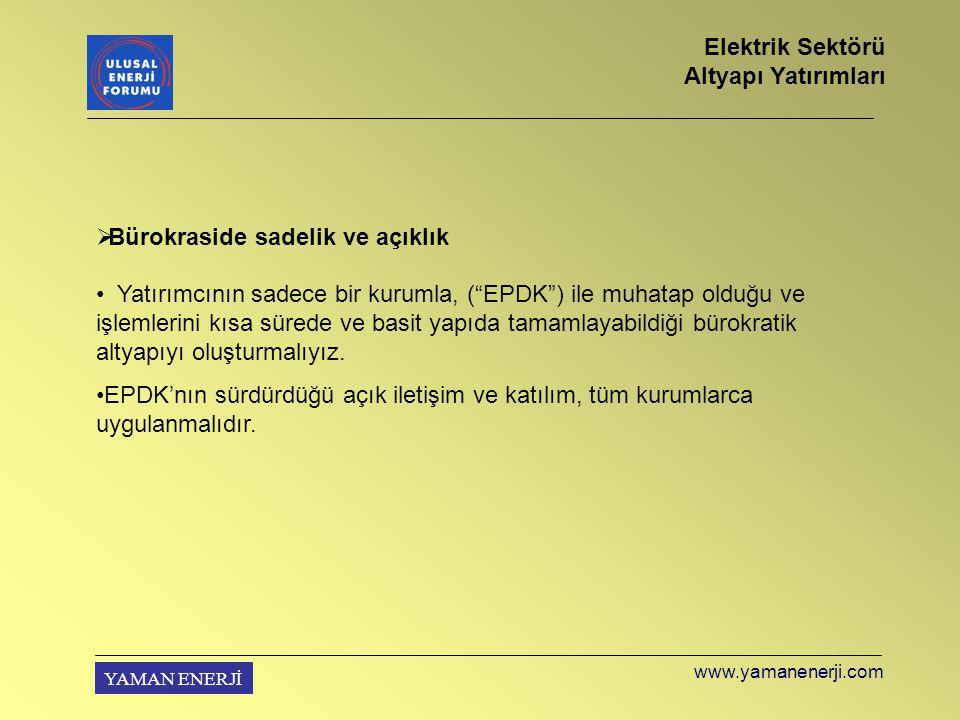 YAMAN ENERJİ  Bürokraside sadelik ve açıklık Yatırımcının sadece bir kurumla, ( EPDK ) ile muhatap olduğu ve işlemlerini kısa sürede ve basit yapıda tamamlayabildiği bürokratik altyapıyı oluşturmalıyız.