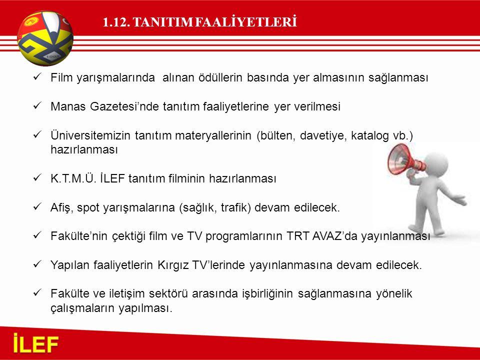 1.12. TANITIM FAALİYETLERİ Film yarışmalarında alınan ödüllerin basında yer almasının sağlanması Manas Gazetesi'nde tanıtım faaliyetlerine yer verilme