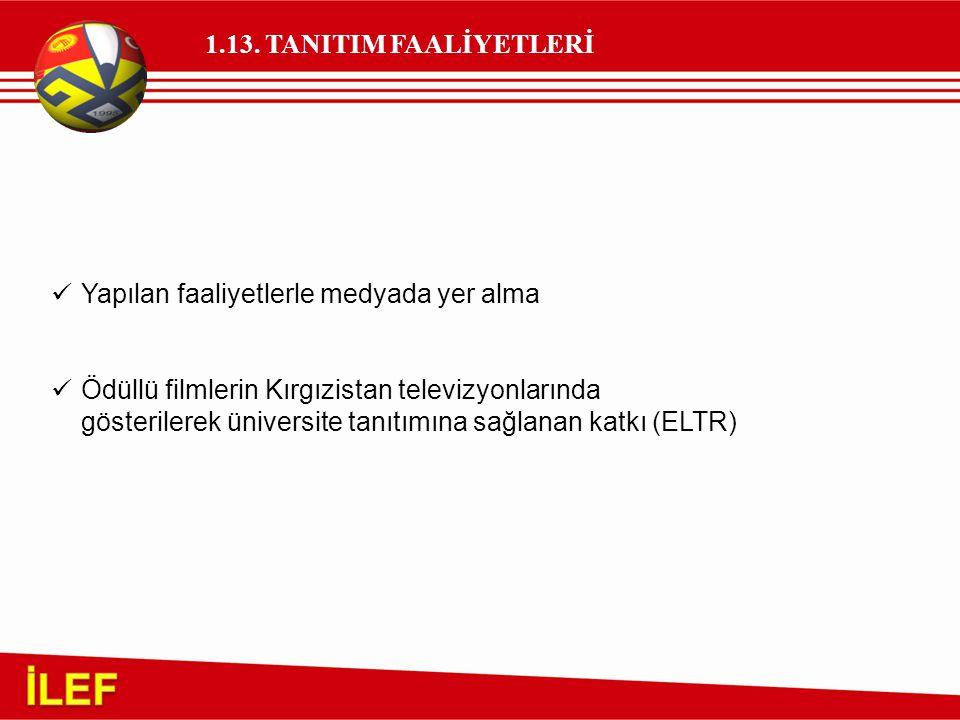 1.13. TANITIM FAALİYETLERİ Yapılan faaliyetlerle medyada yer alma Ödüllü filmlerin Kırgızistan televizyonlarında gösterilerek üniversite tanıtımına sa