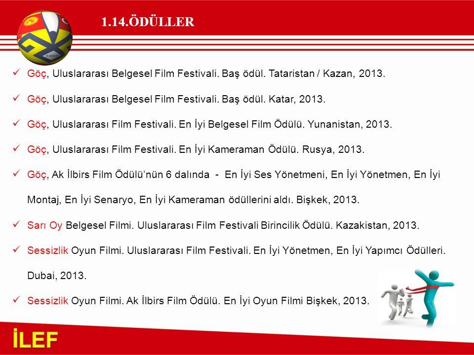 1.14.ÖDÜLLER Göç, Uluslararası Belgesel Film Festivali. Baş ödül. Tataristan / Kazan, 2013. Göç, Uluslararası Belgesel Film Festivali. Baş ödül. Katar