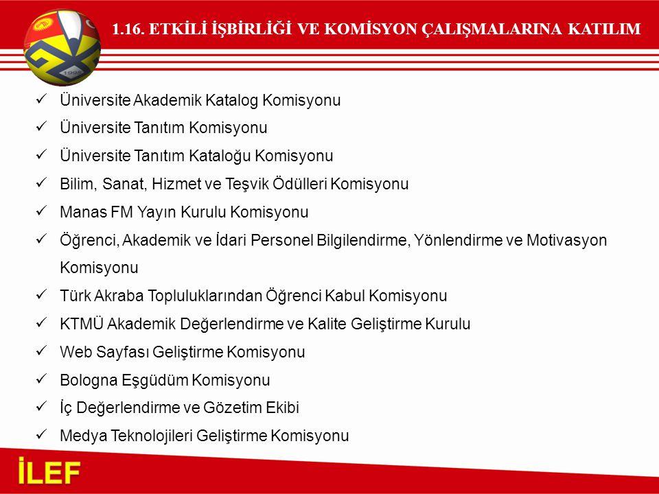 1.16. ETKİLİ İŞBİRLİĞİ VE KOMİSYON ÇALIŞMALARINA KATILIM Üniversite Akademik Katalog Komisyonu Üniversite Tanıtım Komisyonu Üniversite Tanıtım Kataloğ