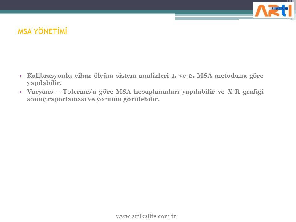 MSA YÖNETİMİ Kalibrasyonlu cihaz ölçüm sistem analizleri 1.