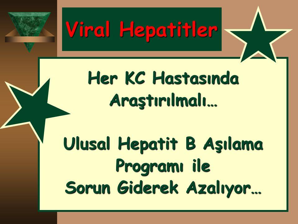 Viral Hepatitler Her KC Hastasında Araştırılmalı… Ulusal Hepatit B Aşılama Programı ile Sorun Giderek Azalıyor…