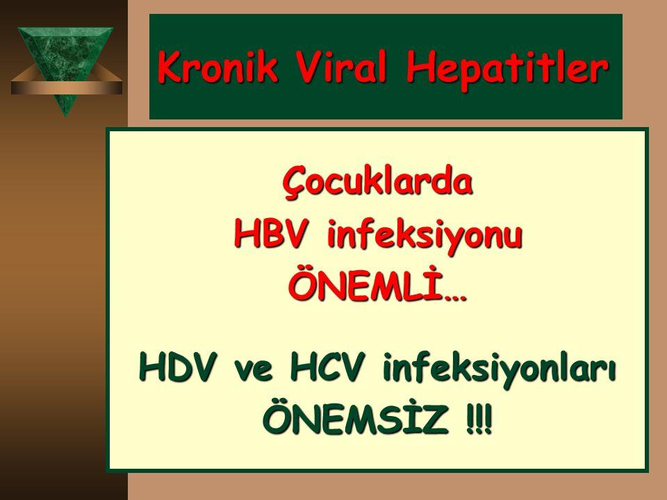 Kronik Viral Hepatitler Çocuklarda HBV infeksiyonu ÖNEMLİ… HDV ve HCV infeksiyonları ÖNEMSİZ !!!