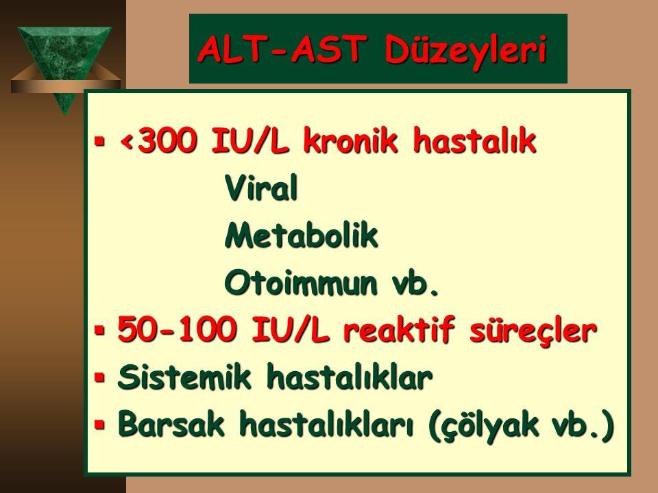 ALT-AST Düzeyleri  <300 IU/L kronik hastalık ViralMetabolik Otoimmun vb.  50-100 IU/L reaktif süreçler  Sistemik hastalıklar  Barsak hastalıkları