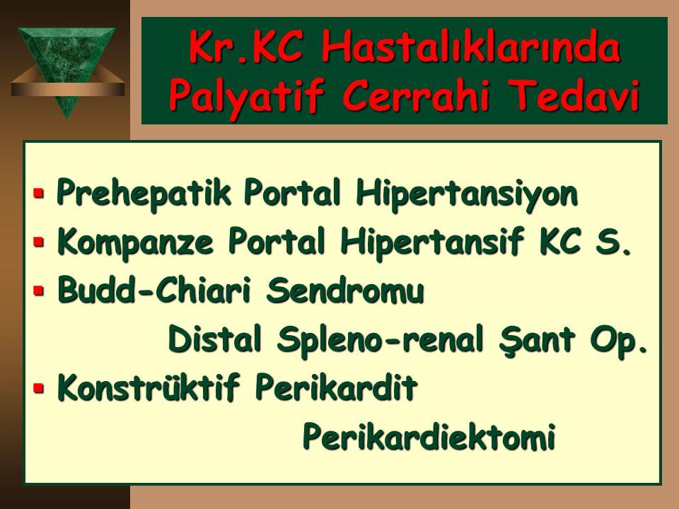 Kr.KC Hastalıklarında Palyatif Cerrahi Tedavi  Prehepatik Portal Hipertansiyon  Kompanze Portal Hipertansif KC S.  Budd-Chiari Sendromu Distal Sple