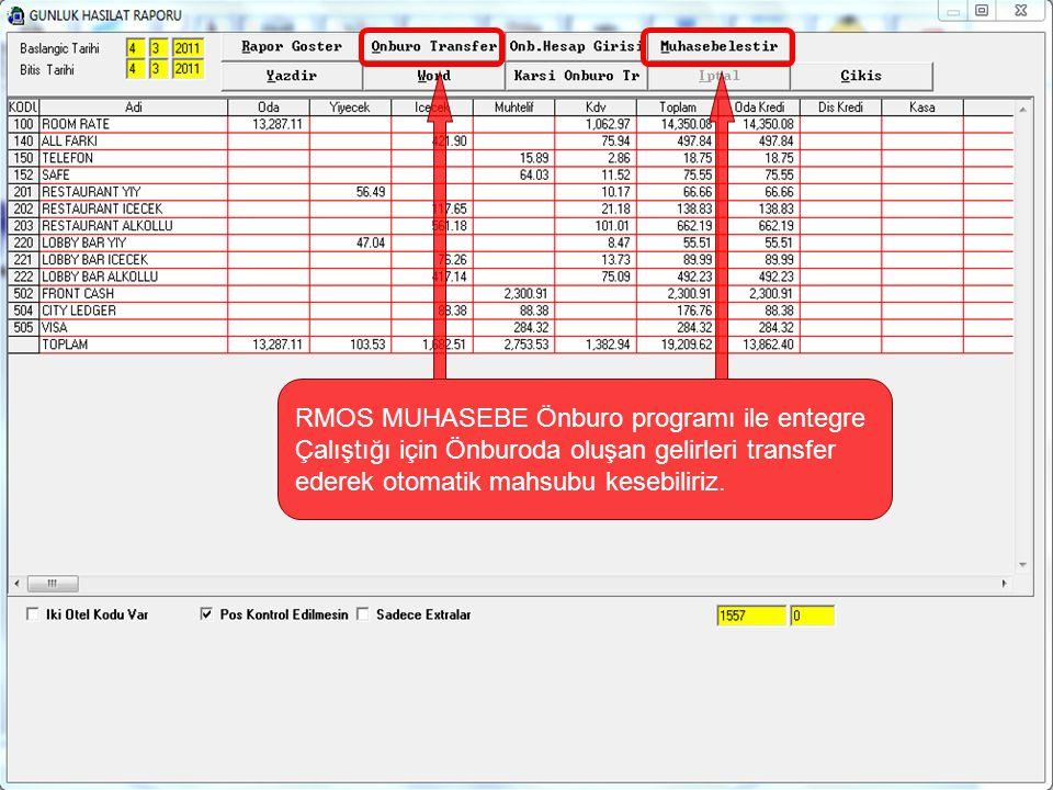 RMOS MUHASEBE Önburo programı ile entegre Çalıştığı için Önburoda oluşan gelirleri transfer ederek otomatik mahsubu kesebiliriz.