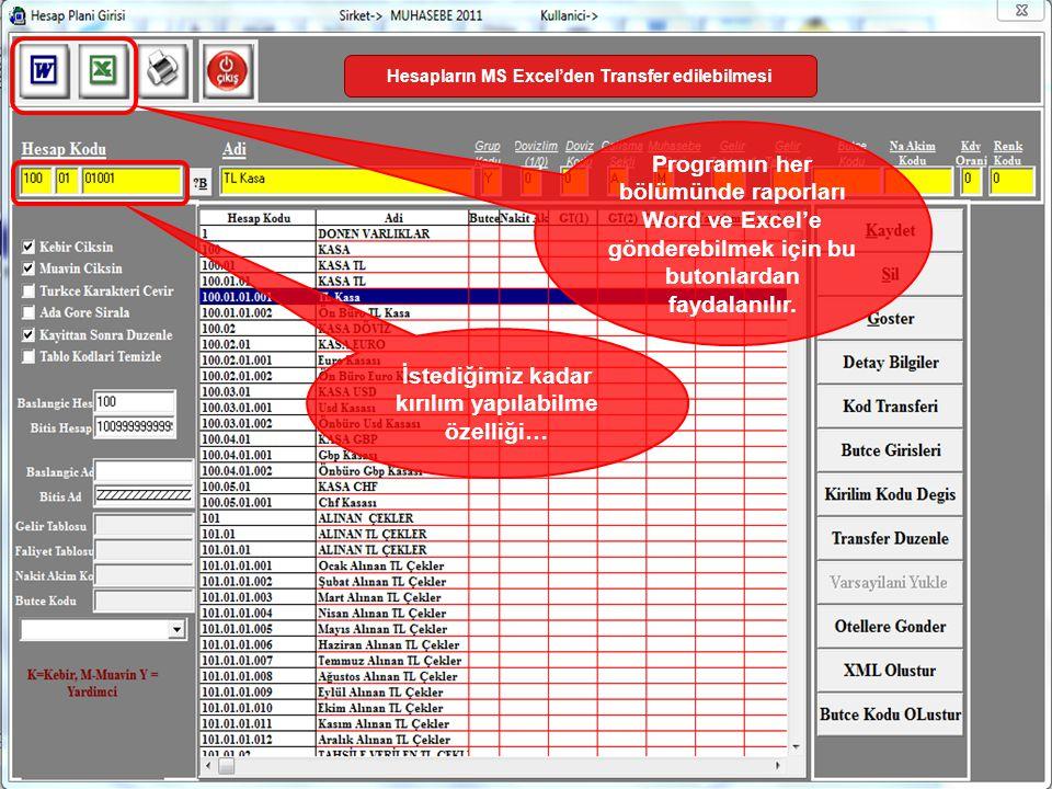 İstediğimiz kadar kırılım yapılabilme özelliği… Hesapların MS Excel'den Transfer edilebilmesi Programın her bölümünde raporları Word ve Excel'e gönder