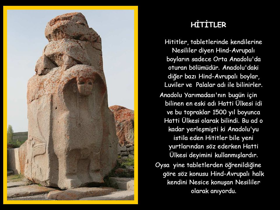 HİTİTLER Hititler, tabletlerinde kendilerine Nesililer diyen Hind-Avrupalı boyların sadece Orta Anadolu da oturan bölümüdür.