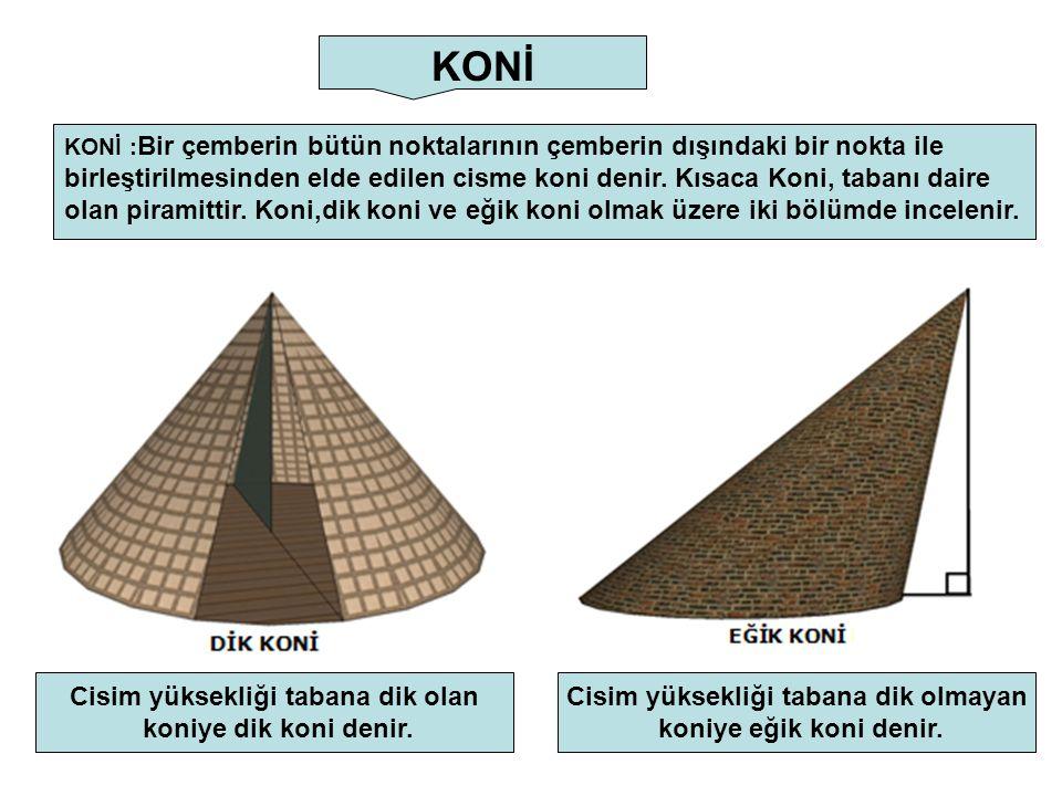 KONİ KONİ : Bir çemberin bütün noktalarının çemberin dışındaki bir nokta ile birleştirilmesinden elde edilen cisme koni denir. Kısaca Koni, tabanı dai