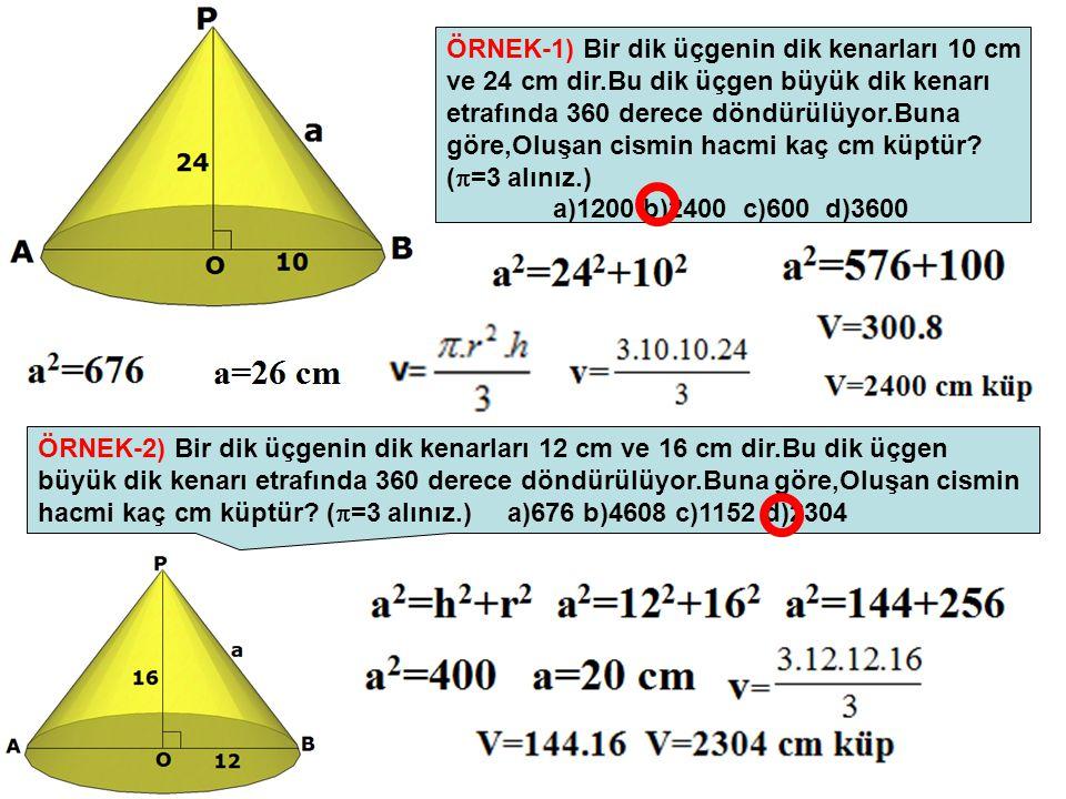 ÖRNEK-1) Bir dik üçgenin dik kenarları 10 cm ve 24 cm dir.Bu dik üçgen büyük dik kenarı etrafında 360 derece döndürülüyor.Buna göre,Oluşan cismin hacm