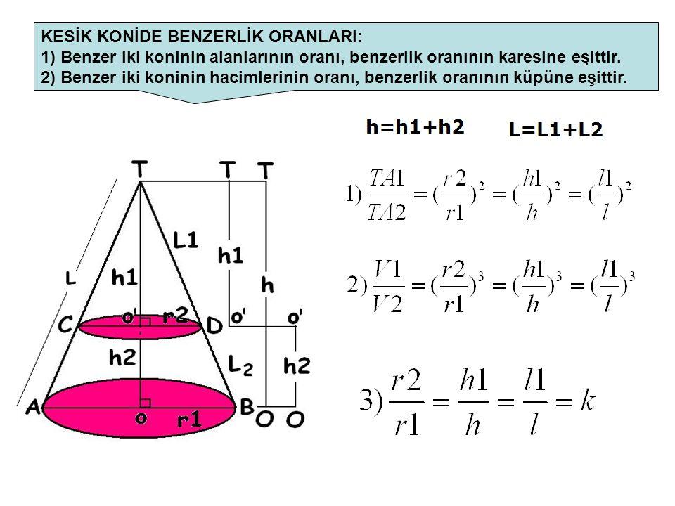 KESİK KONİDE BENZERLİK ORANLARI: 1) Benzer iki koninin alanlarının oranı, benzerlik oranının karesine eşittir. 2) Benzer iki koninin hacimlerinin oran