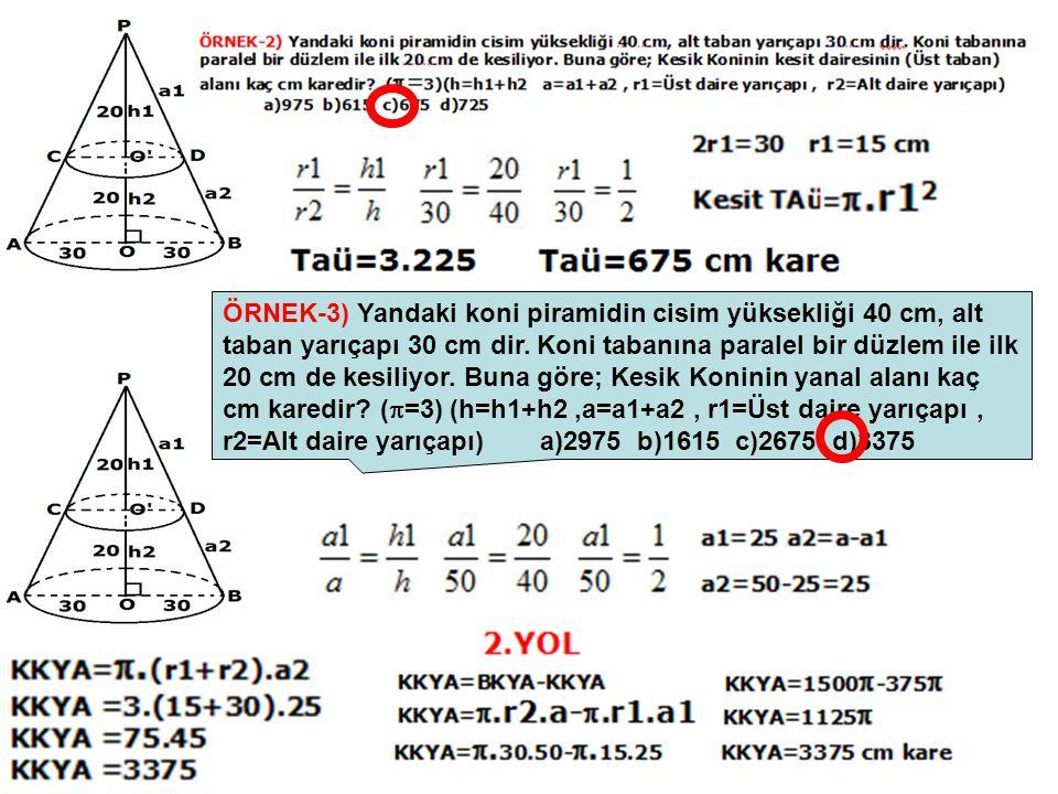 ÖRNEK-3) Yandaki koni piramidin cisim yüksekliği 40 cm, alt taban yarıçapı 30 cm dir. Koni tabanına paralel bir düzlem ile ilk 20 cm de kesiliyor. Bun