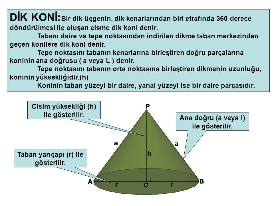 DİK KONİ: Bir dik üçgenin, dik kenarlarından biri etrafında 360 derece döndürülmesi ile oluşan cisme dik koni denir. Tabanı daire ve tepe noktasından