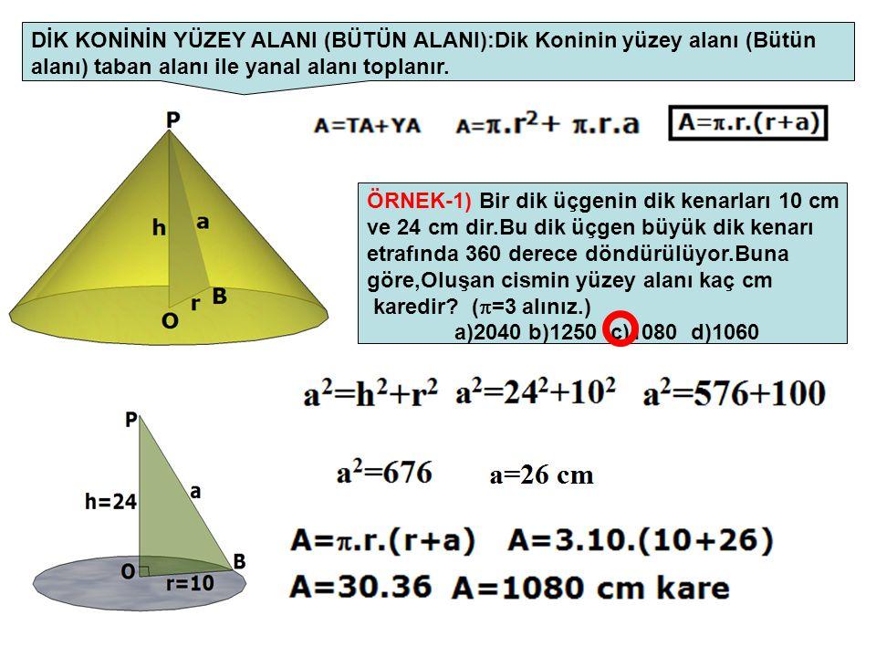 DİK KONİNİN YÜZEY ALANI (BÜTÜN ALANI):Dik Koninin yüzey alanı (Bütün alanı) taban alanı ile yanal alanı toplanır. ÖRNEK-1) Bir dik üçgenin dik kenarla
